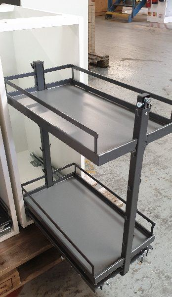Kessebohmer 300 Anthracite pull-out open from white unit